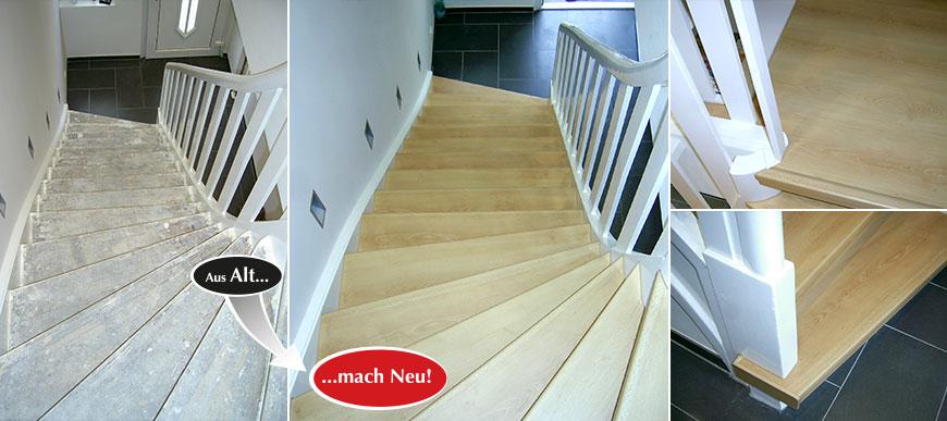 Treppe renovieren mit Laminatstufen